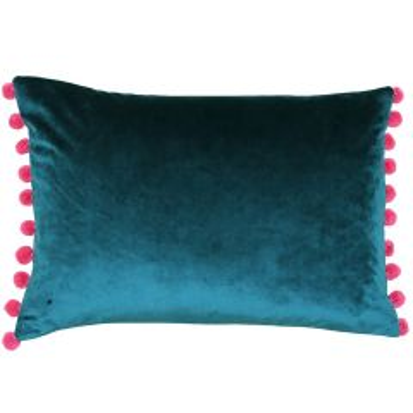 Riva Home Fiesta Teal/Berry Pom Pom Cushion