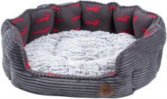 DELI BED GREY BAMBOO AND JUMBO CORD MED