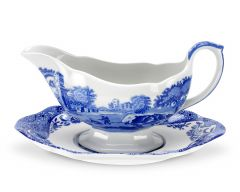 BLUE ITAL SAUCE BOAT AND STAND